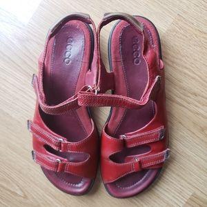 ECCO Red Babett Strap Dress Sandal Leather Size 37